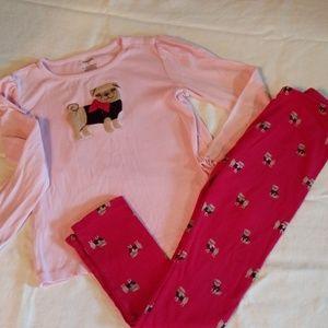 Girls 8 gymboree pug puppy pants shirt bundle